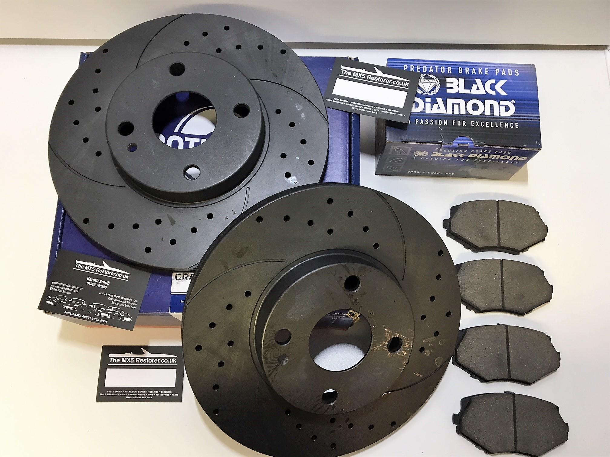 Mk2 5 1 6 1 8 Front Rotinger Brake Discs With Black Diamond Pads